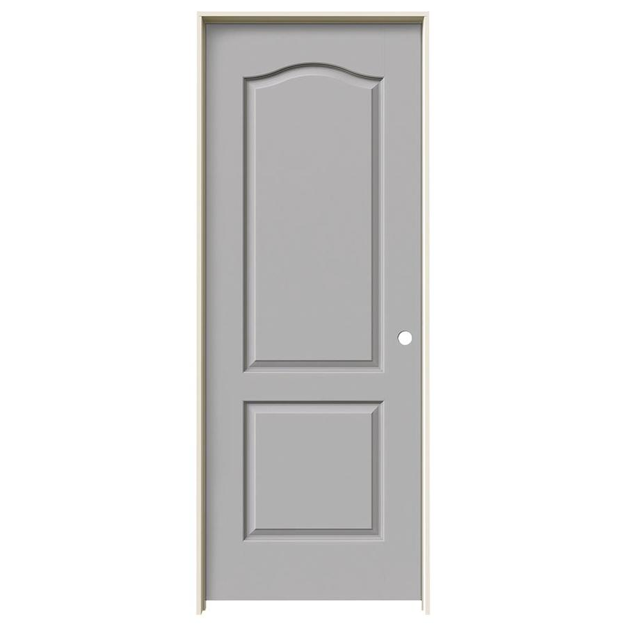 JELD-WEN Driftwood 2-Panel Arch Top Single Prehung Interior Door (Common: 28-in x 80-in; Actual: 29.562-in x 81.688-in)