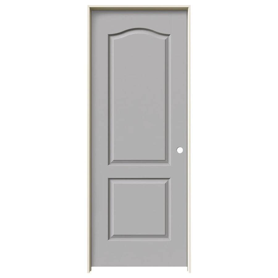 JELD-WEN Driftwood 2-panel Arch Top Single Prehung Interior Door (Common: 30-in x 80-in; Actual: 31.562-in x 81.688-in)