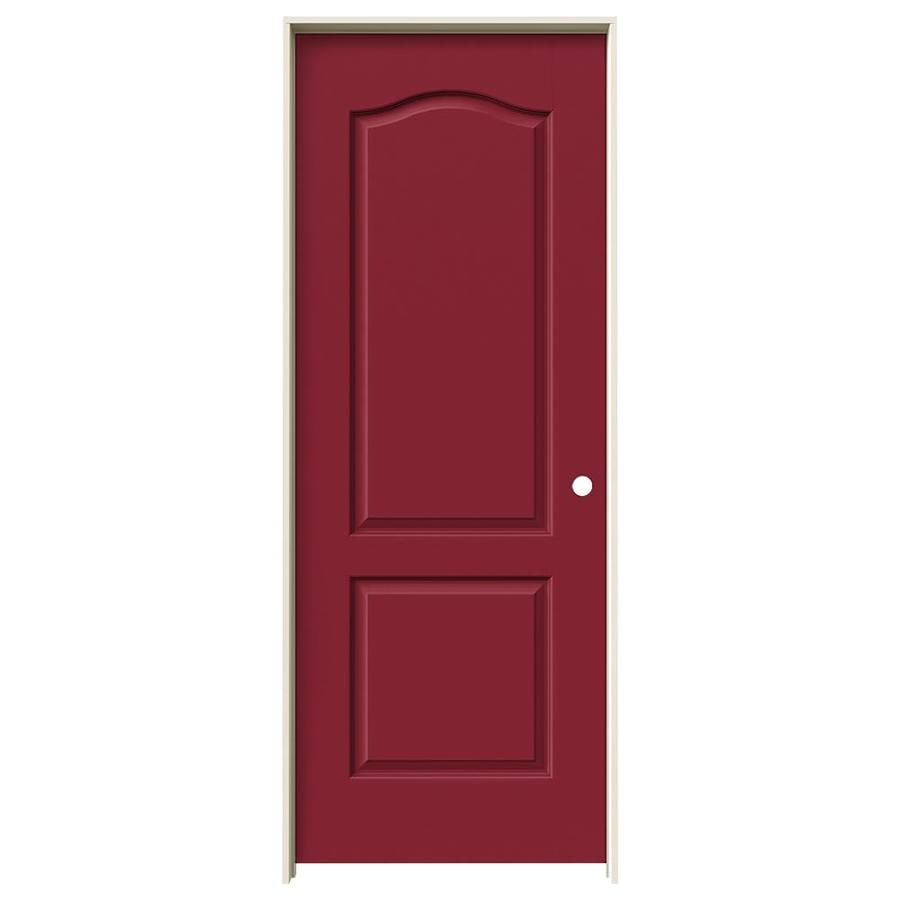 Shop jeld wen barn red 2 panel arch top single prehung for Prehung interior doors