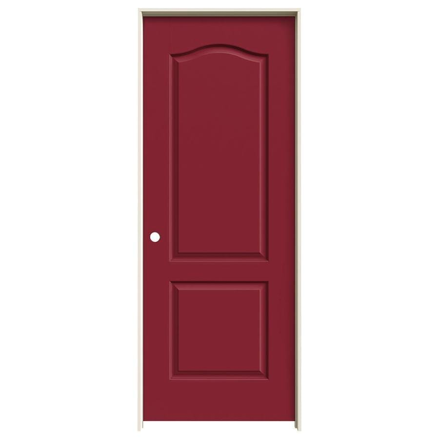 JELD-WEN Barn Red Prehung Solid Core 2-Panel Arch Top Interior Door (Common: 32-in x 80-in; Actual: 33.562-in x 81.688-in)