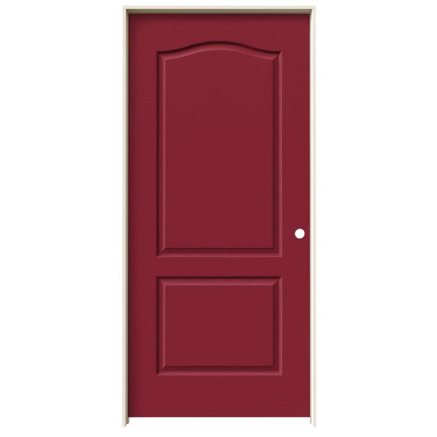 Shop Jeld Wen Barn Red 2 Panel Arch Top Single Prehung Interior Door Common 36 In X 80 In