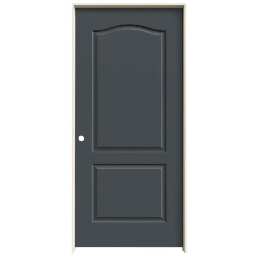 Shop jeld wen princeton slate 2 panel arch top solid core molded composite single prehung door for 2 panel arch top interior doors