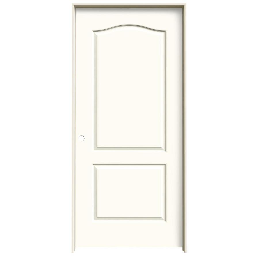 Shop Jeld Wen White 2 Panel Arch Top Single Prehung Interior Door Common 36 In X 80 In Actual