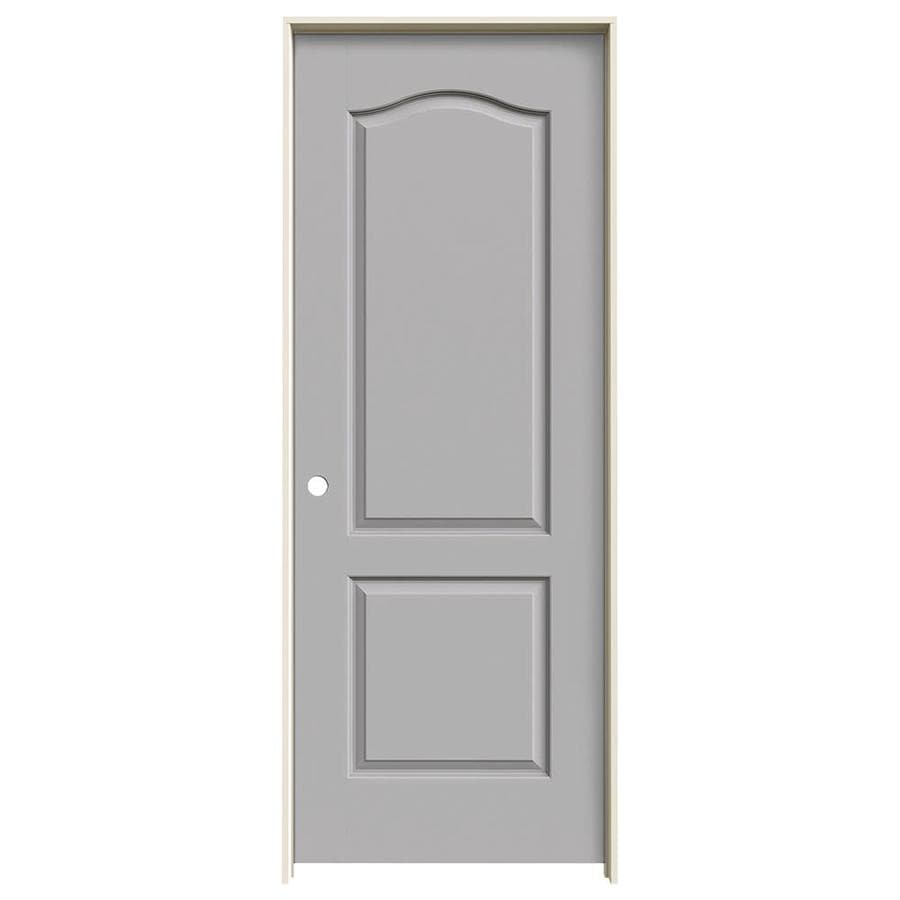 Shop Jeld Wen Driftwood 2 Panel Arch Top Single Prehung Interior Door Common 24 In X 80 In