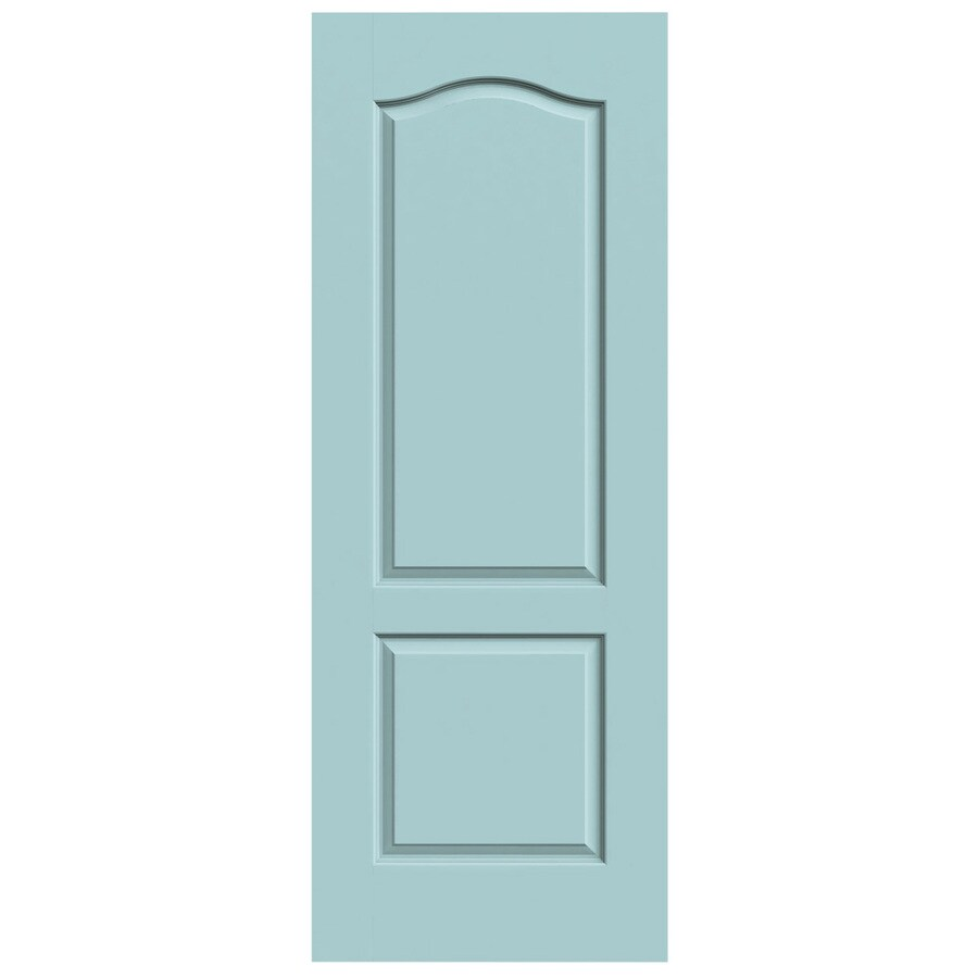 JELD-WEN Barn Red 2-panel Round Top Plank Slab Interior Door (Common: 28 x 80; Actual: 29.5620-in x 81.6880-in)