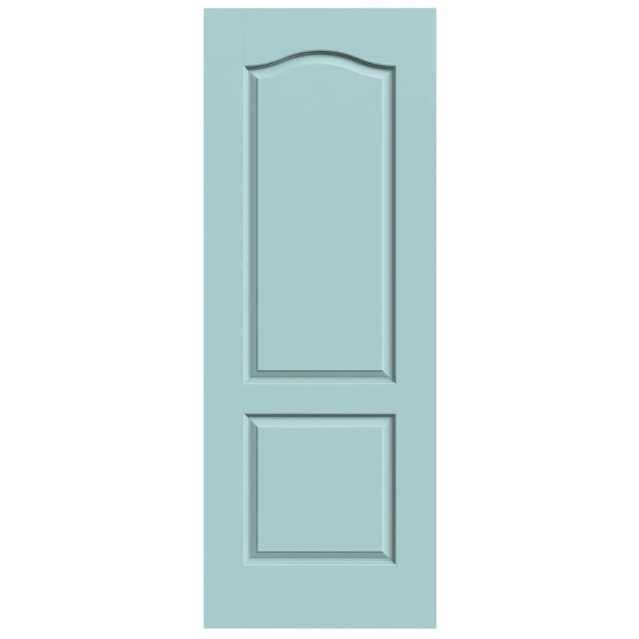 JELD-WEN Sea Mist Solid Core 2-Panel Arch Top Slab Interior Door (Common: 24-in x 80-in; Actual: 24-in x 80-in)