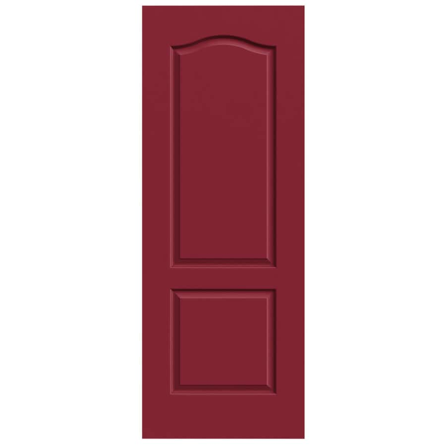 JELD-WEN Barn Red Solid Core 2-Panel Arch Top Slab Interior Door (Common: 28-in x 80-in; Actual: 28-in x 80-in)
