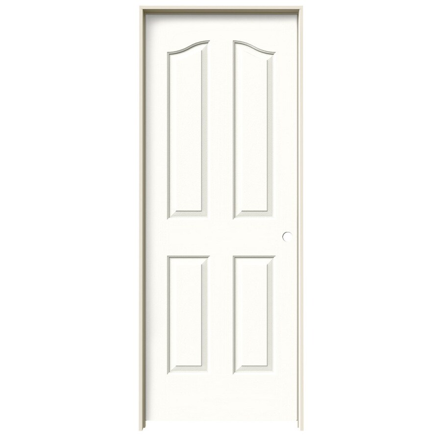 JELD-WEN Snow Storm Prehung Hollow Core 4-Panel Arch Top Interior Door (Common: 28-in x 80-in; Actual: 29.562-in x 81.69-in)