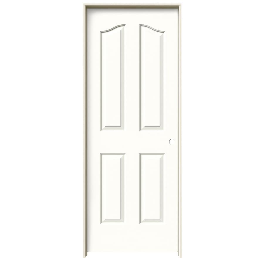 JELD-WEN Coventry Snow Storm 4-panel Arch Top Single Prehung Interior Door (Common: 32-in x 80-in; Actual: 33.562-in x 81.69-in)