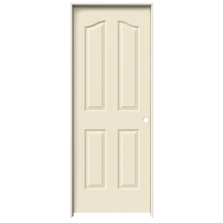 JELD-WEN Coventry Cream-n-sugar 4-panel Arch Top Single Prehung Interior Door (Common: 28-in x 80-in; Actual: 29.562-in x 81.69-in)