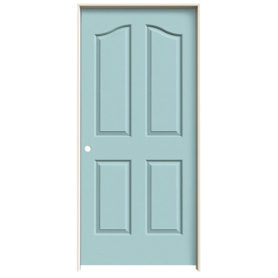 JELD-WEN Coventry Sea Mist 4-panel Arch Top Single Prehung Interior Door (Common: 36-in x 80-in; Actual: 37.562-in x 81.69-in)