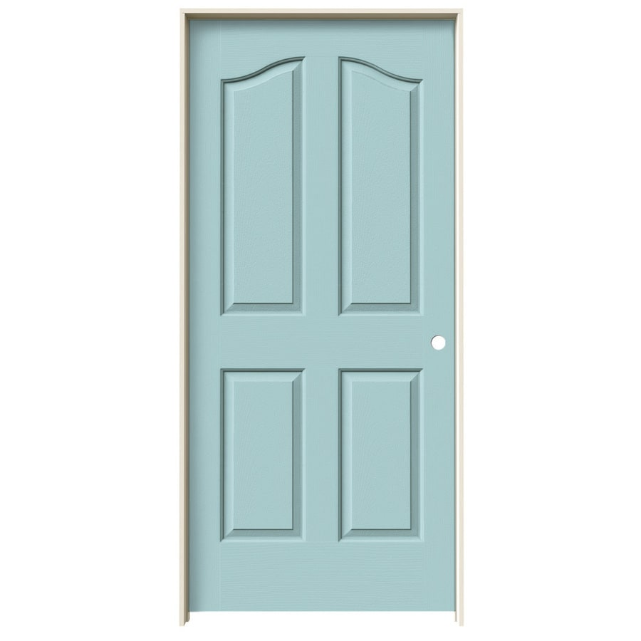 JELD-WEN Sea Mist Prehung Hollow Core 4-Panel Arch Top Interior Door (Common: 36-in x 80-in; Actual: 37.562-in x 81.69-in)