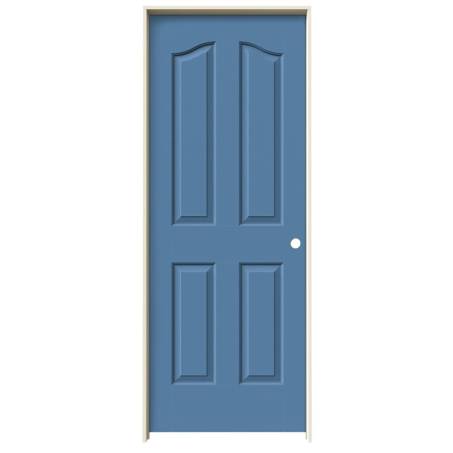 JELD-WEN Coventry Blue Heron 4-panel Arch Top Single Prehung Interior Door (Common: 28-in x 80-in; Actual: 29.562-in x 81.69-in)