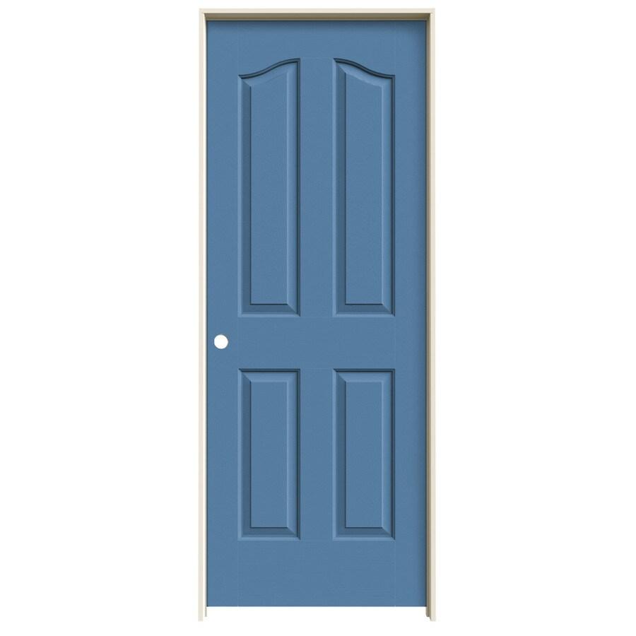 JELD-WEN Coventry Blue Heron 4-panel Arch Top Single Prehung Interior Door (Common: 32-in x 80-in; Actual: 33.562-in x 81.69-in)