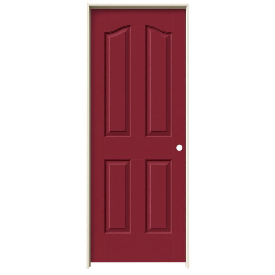 JELD-WEN Barn Red Prehung Hollow Core 4-Panel Arch Top Interior Door (Common: 28-in x 80-in; Actual: 29.562-in x 81.69-in)