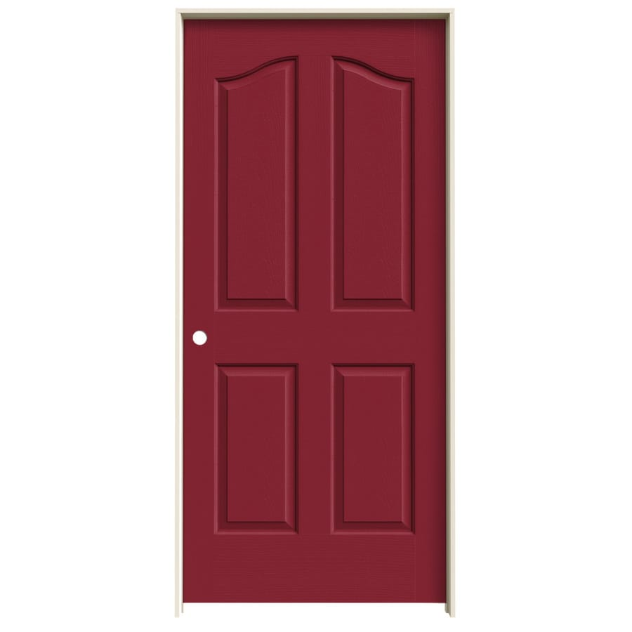 JELD-WEN Barn Red Prehung Hollow Core 4-Panel Arch Top Interior Door (Common: 36-in x 80-in; Actual: 37.562-in x 81.69-in)