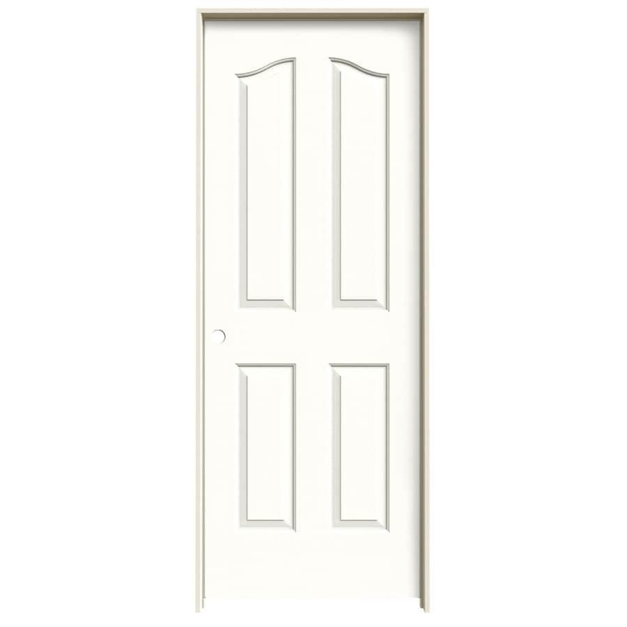 JELD-WEN Coventry Snow Storm 4-panel Arch Top Single Prehung Interior Door (Common: 32-in x 80-in; Actual: 33.562-in x 81.69-in)