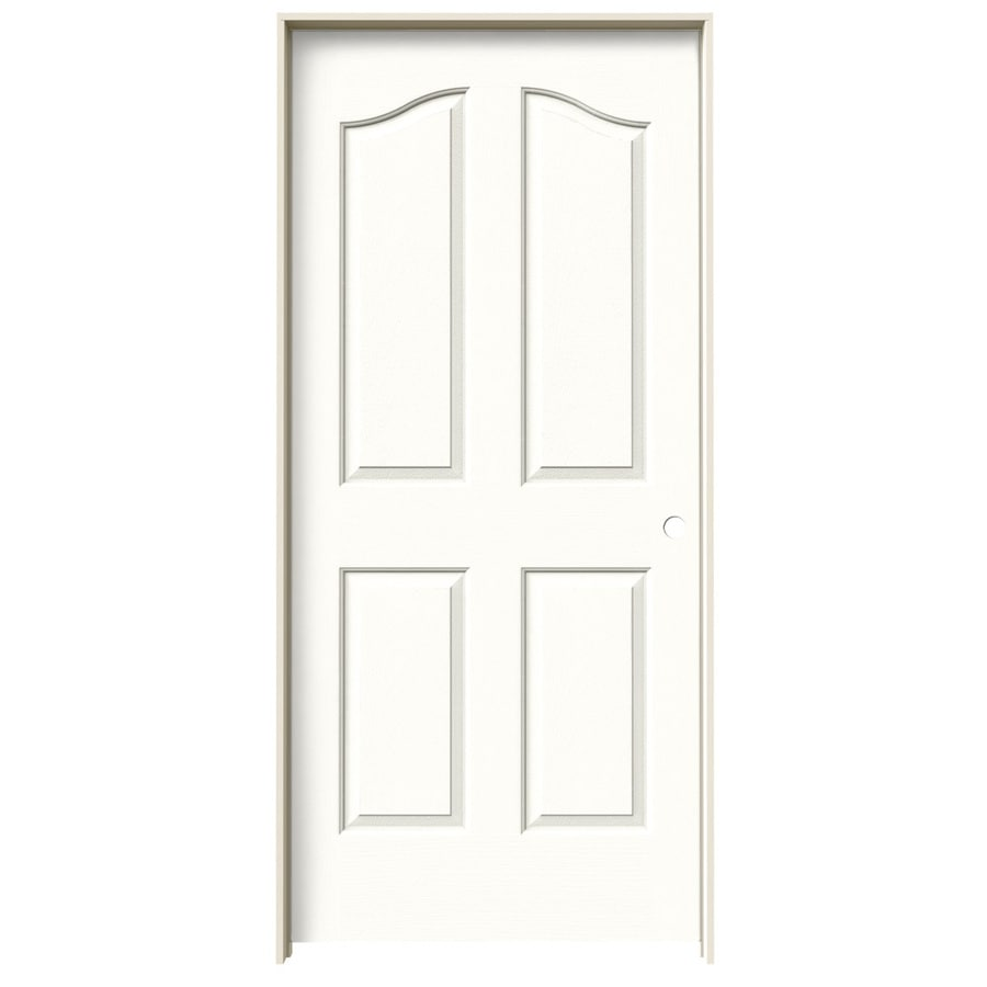 JELD-WEN Coventry Snow Storm 4-panel Arch Top Single Prehung Interior Door (Common: 36-in x 80-in; Actual: 37.562-in x 81.69-in)