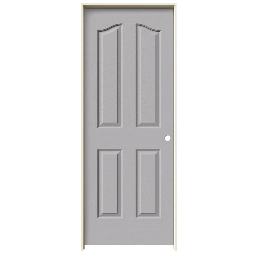 JELD-WEN Driftwood Prehung Solid Core 4-Panel Arch Top Interior Door (Common: 32-in x 80-in; Actual: 33.562-in x 81.69-in)