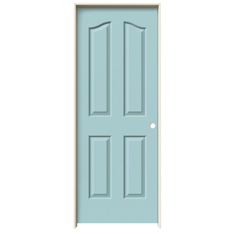 JELD-WEN Sea Mist Prehung Solid Core 4-Panel Arch Top Interior Door (Common: 28-in x 80-in; Actual: 29.562-in x 81.69-in)