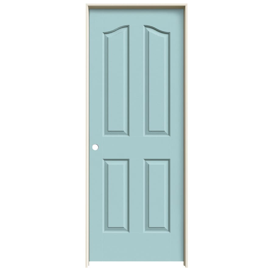 JELD-WEN Sea Mist Prehung Solid Core 4-Panel Arch Top Interior Door (Common: 30-in x 80-in; Actual: 31.562-in x 81.69-in)