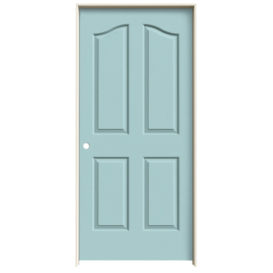 JELD-WEN Sea Mist Prehung Solid Core 4-Panel Arch Top Interior Door (Common: 36-in x 80-in; Actual: 37.562-in x 81.69-in)