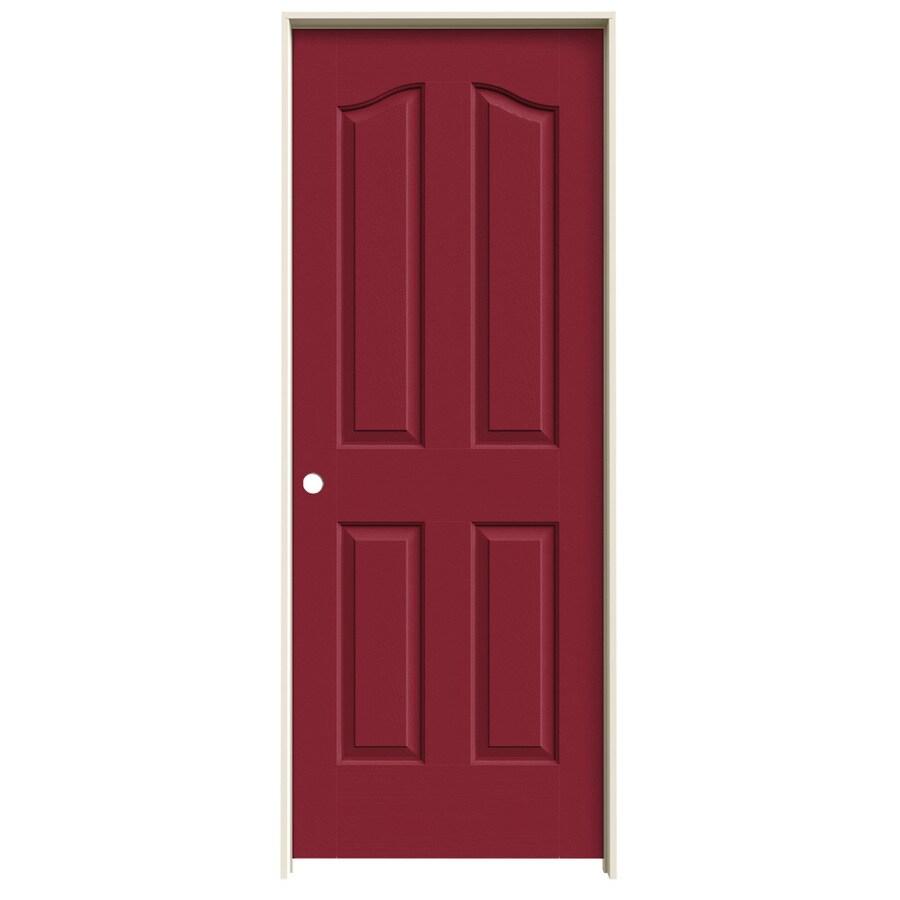 JELD-WEN Barn Red Prehung Solid Core 4-Panel Arch Top Interior Door (Common: 28-in x 80-in; Actual: 29.562-in x 81.69-in)