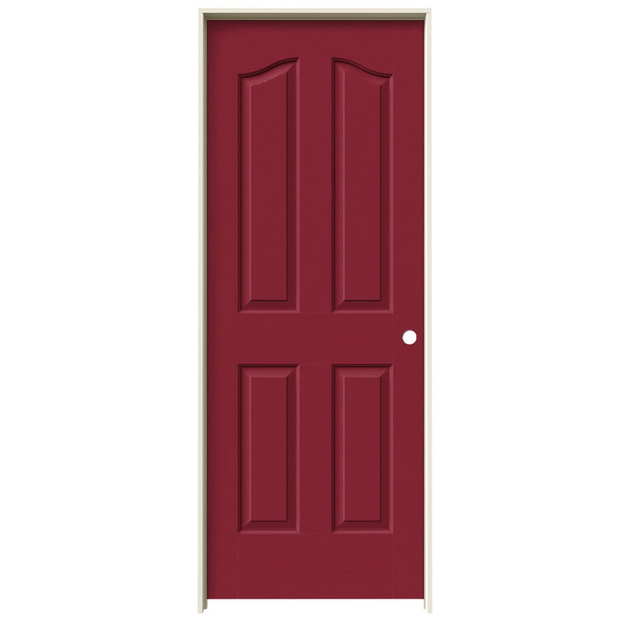 JELD-WEN Barn Red Prehung Solid Core 4-Panel Arch Top Interior Door (Common: 30-in x 80-in; Actual: 31.562-in x 81.69-in)