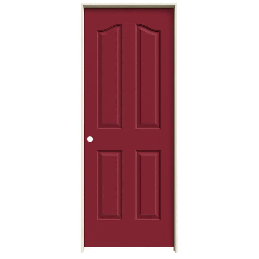 JELD-WEN Barn Red Prehung Solid Core 4-Panel Arch Top Interior Door (Common: 32-in x 80-in; Actual: 33.562-in x 81.69-in)