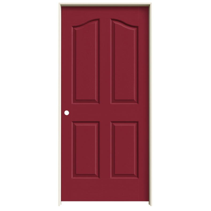 JELD-WEN Barn Red Prehung Solid Core 4-Panel Arch Top Interior Door (Common: 36-in x 80-in; Actual: 37.562-in x 81.69-in)