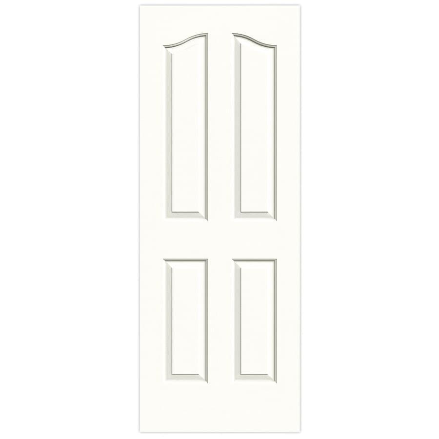 JELD-WEN Snow Storm Solid Core 4-Panel Arch Top Slab Interior Door (Common: 24-in x 80-in; Actual: 24-in x 80-in)