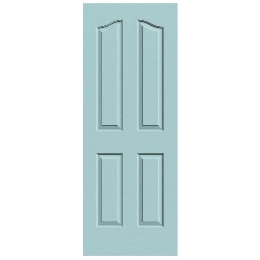 JELD-WEN Sea Mist Solid Core 4-Panel Arch Top Slab Interior Door (Common: 24-in x 80-in; Actual: 24-in x 80-in)