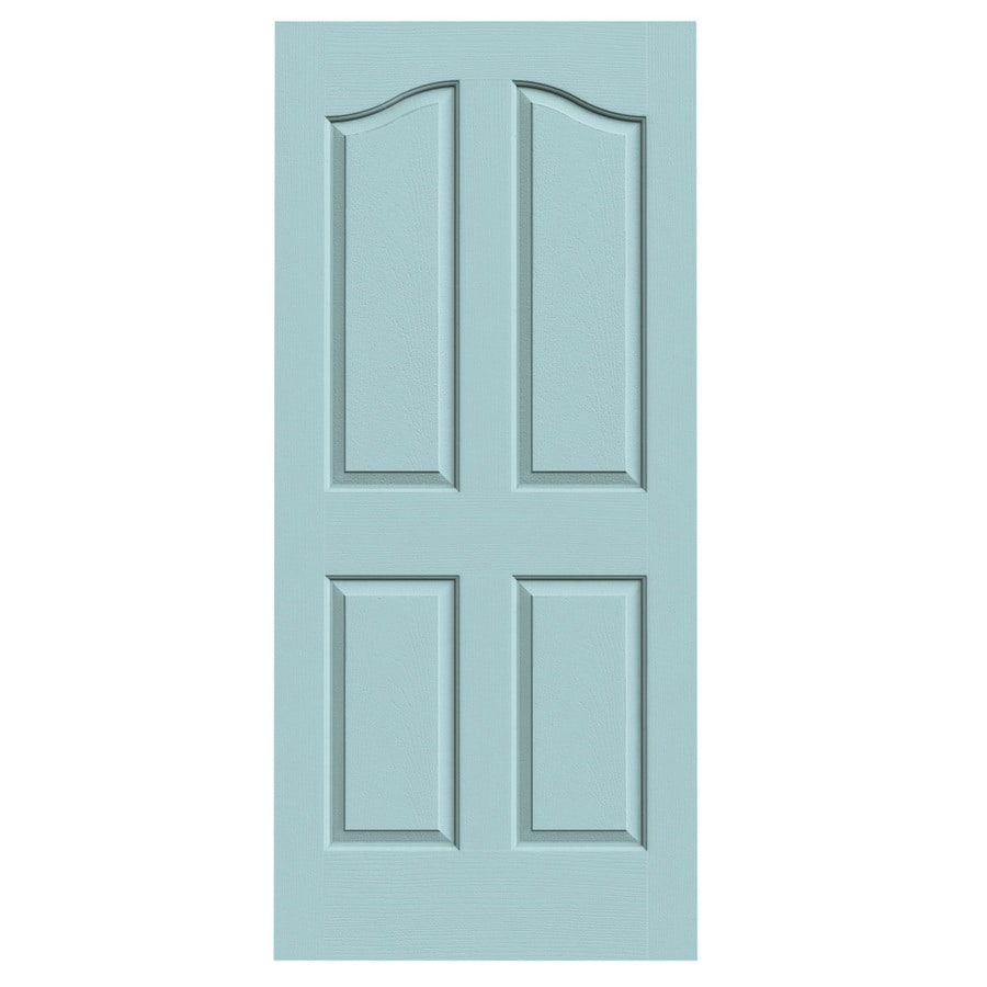 JELD-WEN Sea Mist Solid Core 4-Panel Arch Top Slab Interior Door (Common: 36-in x 80-in; Actual: 36-in x 80-in)