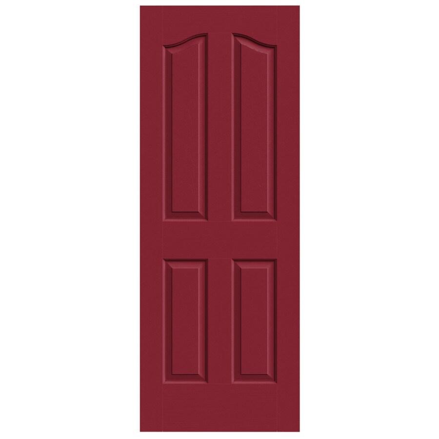 JELD-WEN Barn Red Solid Core 4-Panel Arch Top Slab Interior Door (Common: 28-in x 80-in; Actual: 28-in x 80-in)