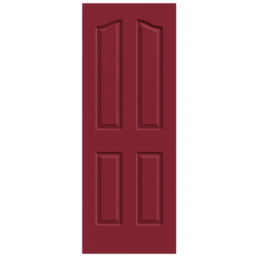 JELD-WEN Barn Red Solid Core 4-Panel Arch Top Slab Interior Door (Common: 32-in x 80-in; Actual: 32-in x 80-in)