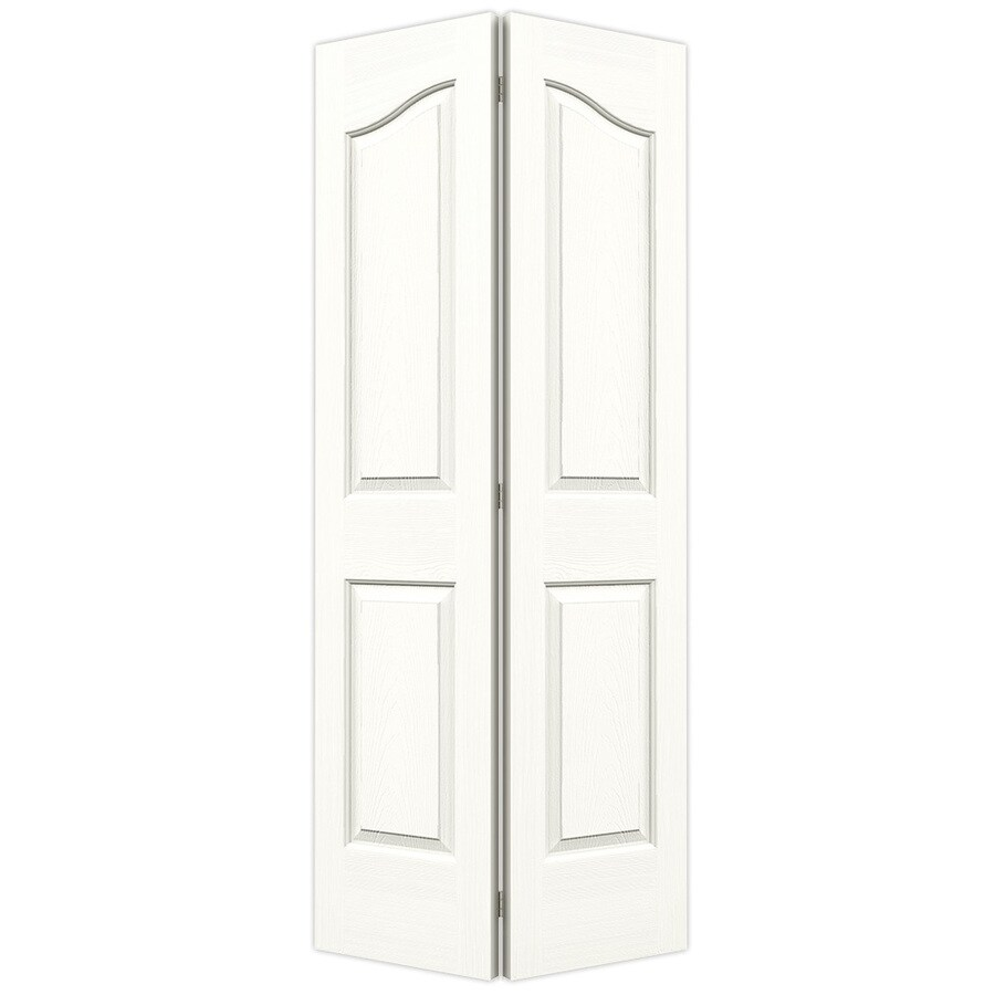 JELD-WEN Coventry Snow Storm Hollow Core Molded Composite Bi-Fold Closet Interior Door with Hardware (Common: 36-in x 80-in; Actual: 35.5-in x 79-in)