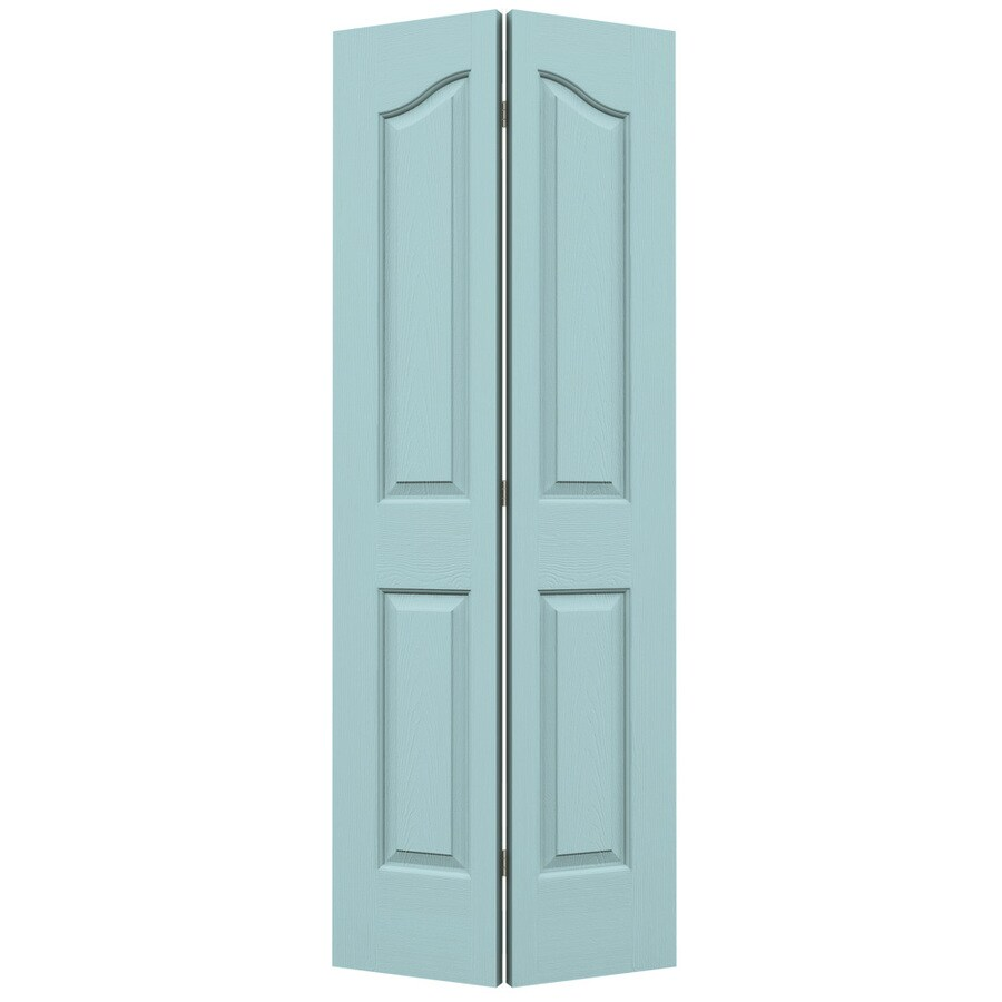 JELD-WEN Coventry Sea Mist 4-panel Arch Top Bi-fold Closet Interior Door (Common: 32-in x 80-in; Actual: 31.5000-in x 79-in)