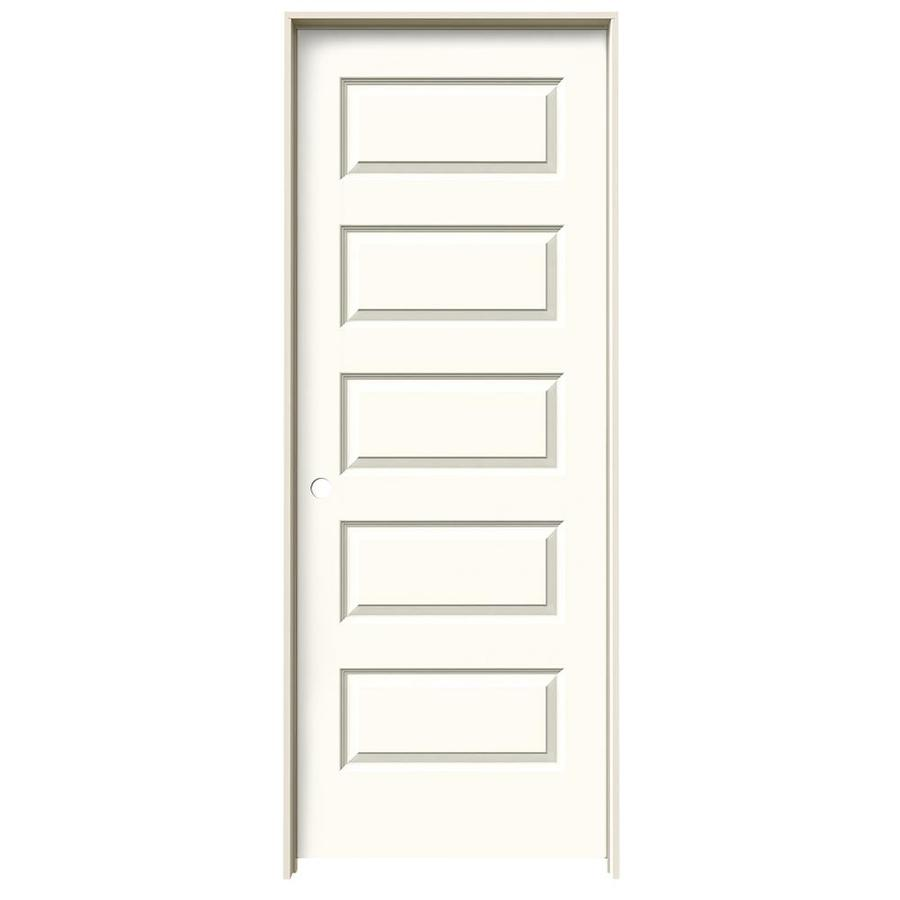 JELD-WEN White Prehung Solid Core 5-Panel Equal Interior Door (Common: 28-in x 80-in; Actual: 29.562-in x 81.688-in)