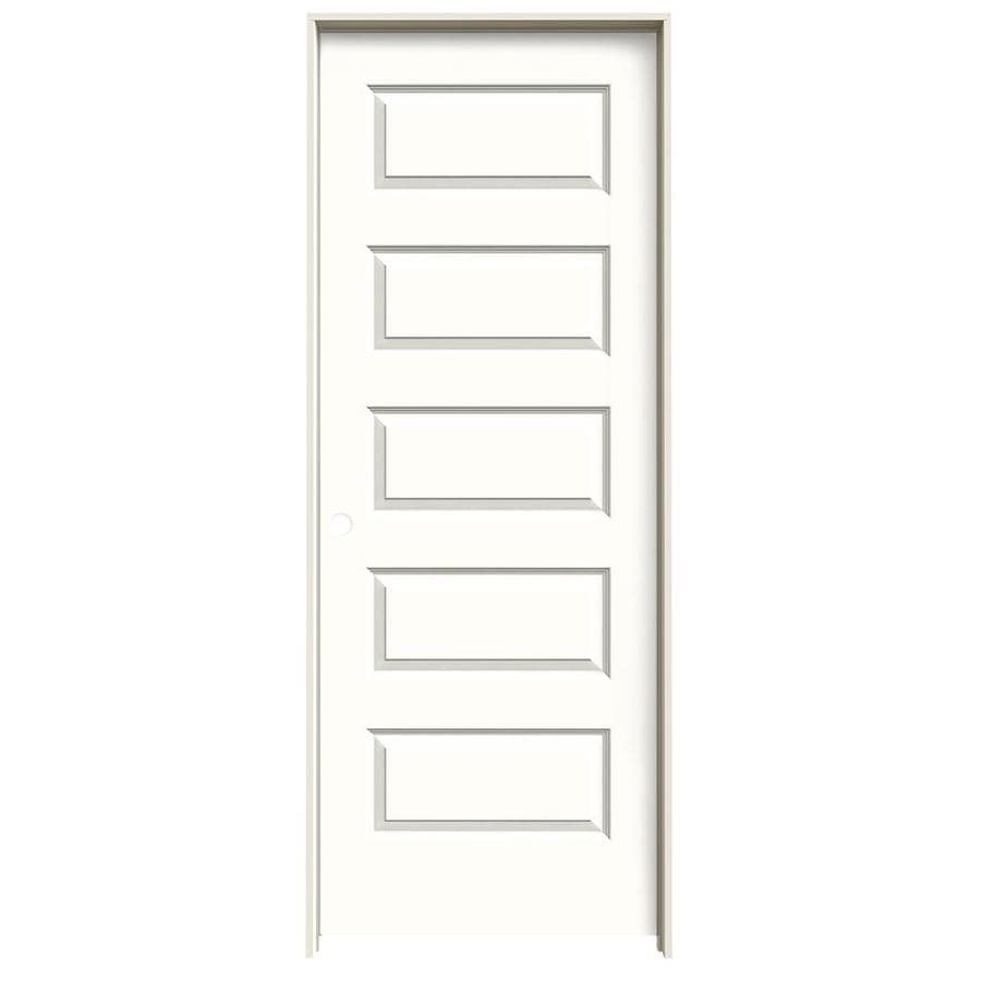 JELD-WEN Rockport Snow Storm Prehung Solid Core 5-Panel Equal Interior Door (Common: 30-in x 80-in; Actual: 31.562-in x 81.688-in)