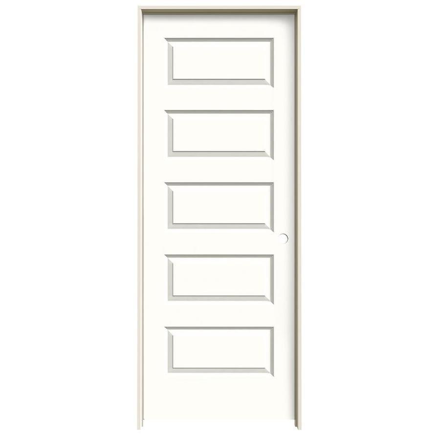 JELD-WEN Rockport Snow Storm Prehung Solid Core 5-Panel Equal Interior Door (Common: 30-in x 80-in; Actual: 31.562-in x 81.688-in)