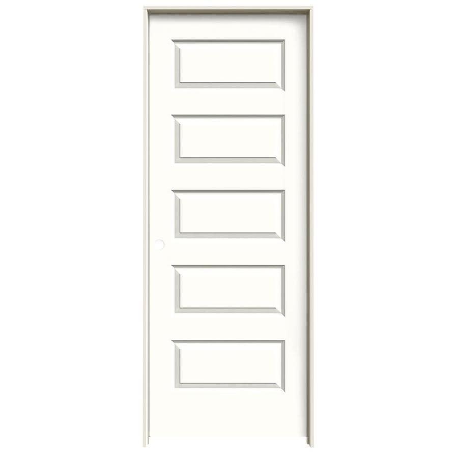 JELD-WEN Rockport Snow Storm Prehung Solid Core 5-Panel Equal Interior Door (Common: 32-in x 80-in; Actual: 33.562-in x 81.688-in)