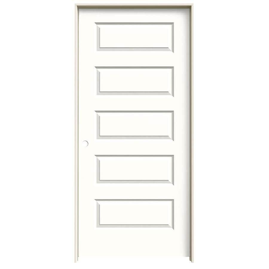 JELD-WEN Rockport Snow Storm Prehung Solid Core 5-Panel Equal Interior Door (Common: 36-in x 80-in; Actual: 37.562-in x 81.688-in)