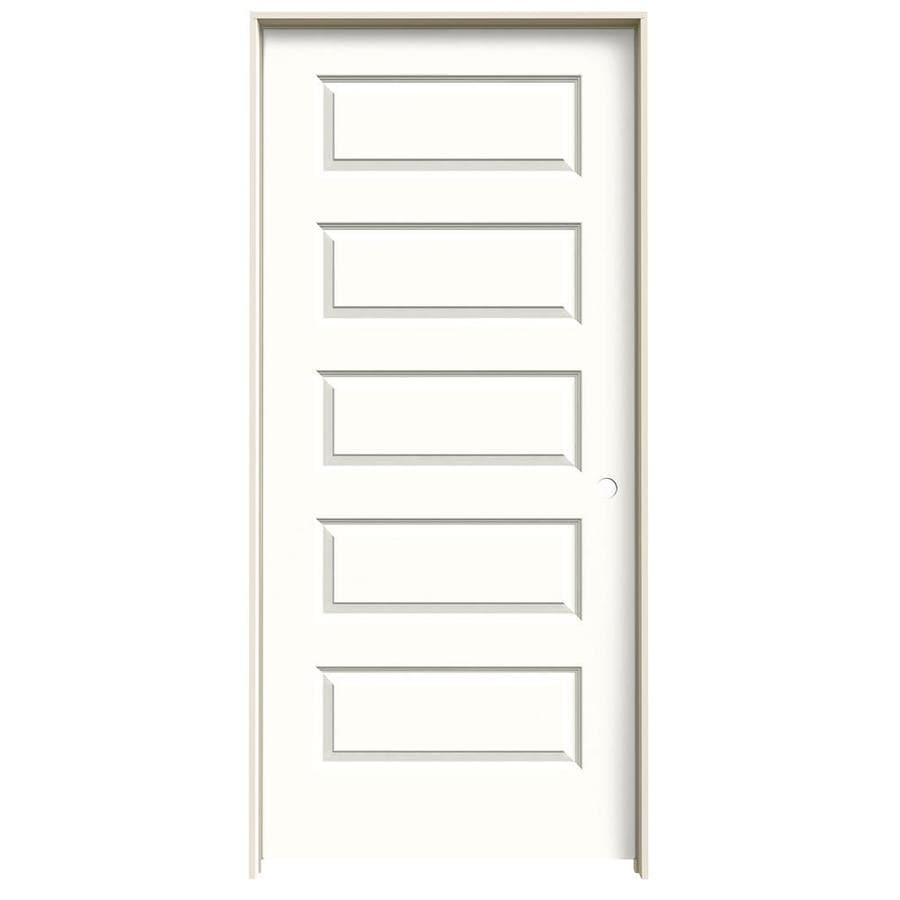 JELD-WEN Rockport Snow Storm Prehung Solid Core 5-Panel Equal Interior Door (Common: 36-in x 80-in; Actual: 37.562-in x 81.688-in)