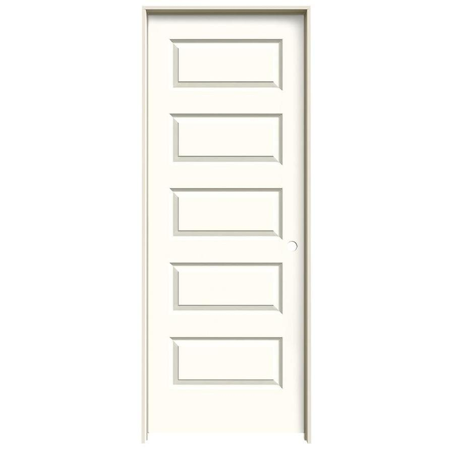 JELD-WEN Rockport Moonglow 5-panel Equal Single Prehung Interior Door (Common: 24-in x 80-in; Actual: 25.5620-in x 81.6880-in)