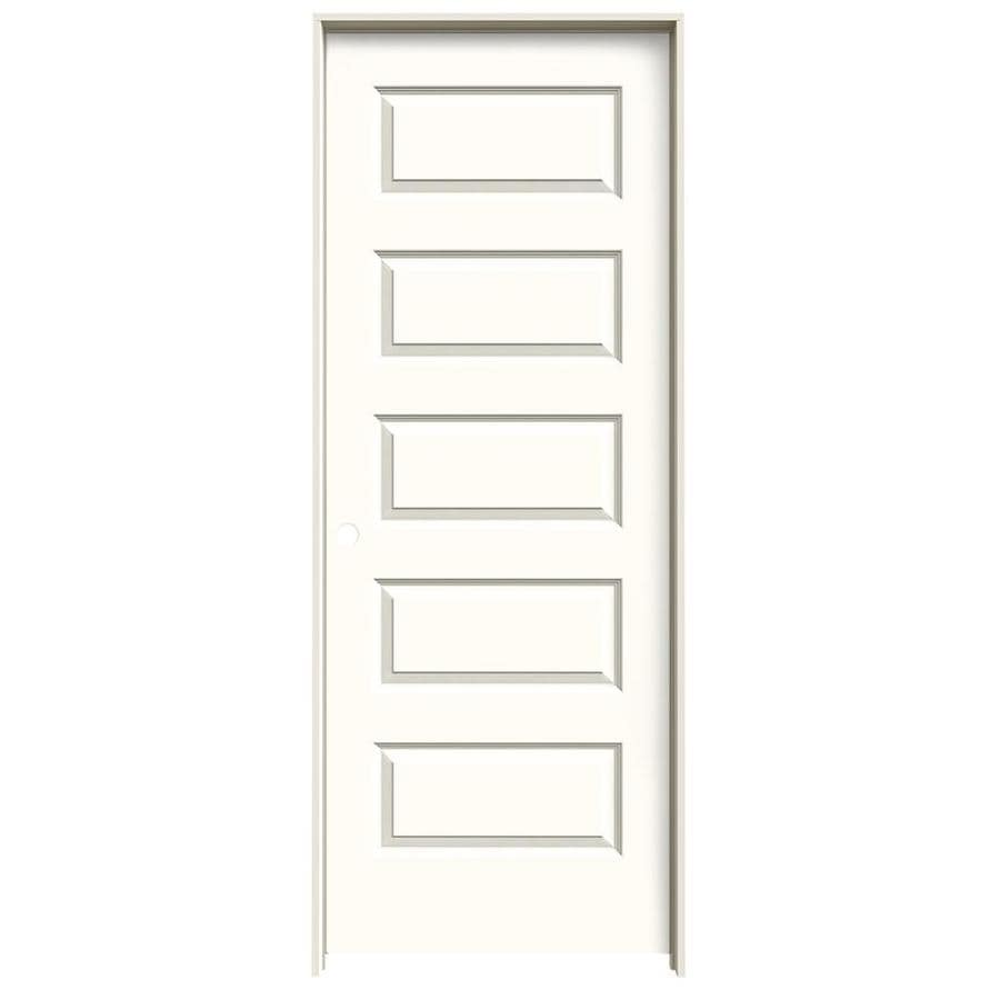 JELD-WEN Rockport Moonglow 5-panel Equal Single Prehung Interior Door (Common: 32-in x 80-in; Actual: 33.562-in x 81.688-in)