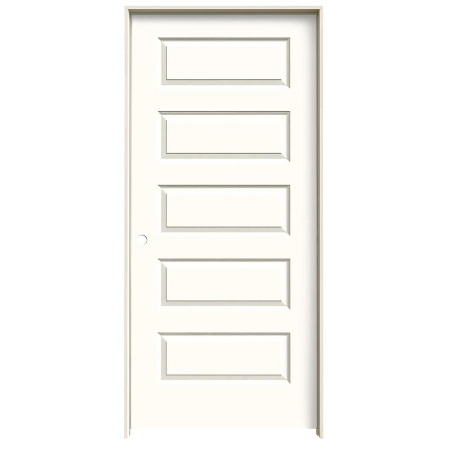JELD-WEN Rockport Moonglow 5-panel Equal Single Prehung Interior Door (Common: 36-in x 80-in; Actual: 37.562-in x 81.688-in)