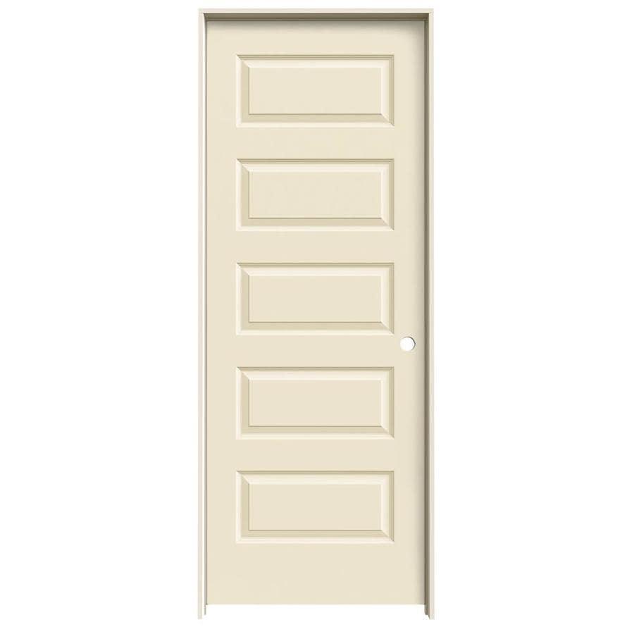 JELD-WEN Rockport Cream-n-sugar 5-panel Equal Single Prehung Interior Door (Common: 28-in x 80-in; Actual: 29.562-in x 81.688-in)