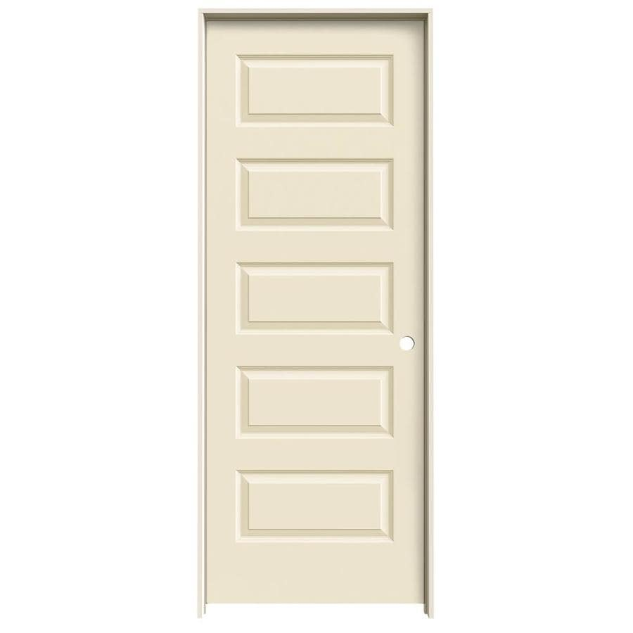 JELD-WEN Rockport Cream-n-sugar 5-panel Equal Single Prehung Interior Door (Common: 32-in x 80-in; Actual: 33.562-in x 81.688-in)