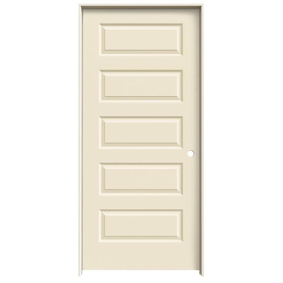 JELD-WEN Rockport Cream-n-sugar 5-panel Equal Single Prehung Interior Door (Common: 36-in x 80-in; Actual: 37.562-in x 81.688-in)