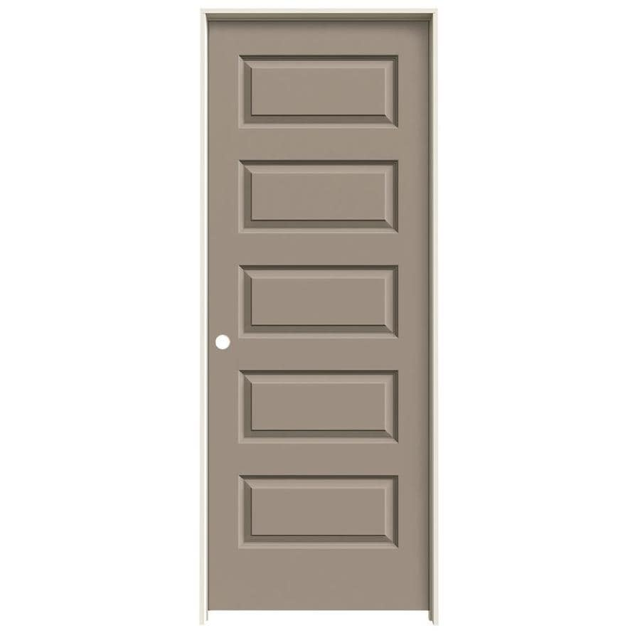 JELD-WEN Rockport Sand Piper Prehung Solid Core 5-Panel Equal Interior Door (Common: 28-in x 80-in; Actual: 29.562-in x 81.688-in)